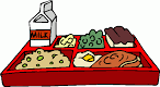 Clip art depicting a lunch tray filled with various cafeteria food