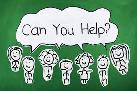 "Stick figure children all saying ""Can you help?"""
