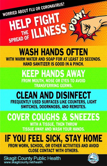 Help fight the spread of illness! Wash hands often, keep hands away, disinfect, cover coughs and sneezes, and stay home if you feel sick.